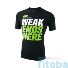 MusclePharm Sportswear Crew Neck Weak Ends Here Tee Black (MPTS404)
